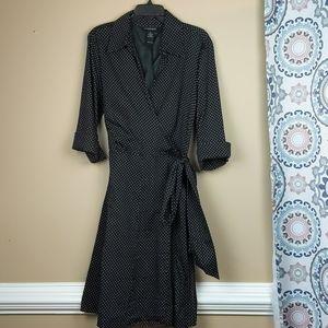 Lane Bryant wrap dress, black & white 3/4 sleeves